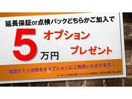 今、ご成約でオプション5万円分プレゼント実施中☆お好きオプションにご利用いただけます☆ご商談時にご提示していただくだけでOKです!
