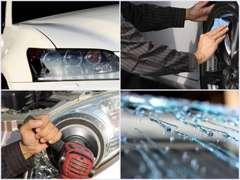 ボディーガラスコーティング、アルミホイールコーティング、ヘッドライトコーティング、撥水コーティング各種お任せ下さい!