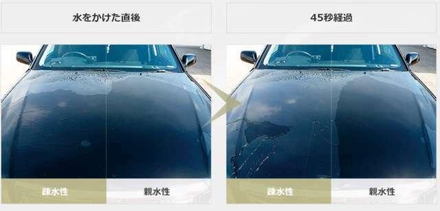 Aプラン画像:弱撥水も持たせることにより全体的な水引の実現、雨ジミや水垢の防止、洗車後の拭き取りが楽になります。