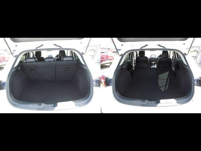 トランクルーム!リアシートは片方ずつ前方へ倒せます。乗車員数や積む荷物に応じてアレンジが可能ですので多彩に使えてとても便利です。