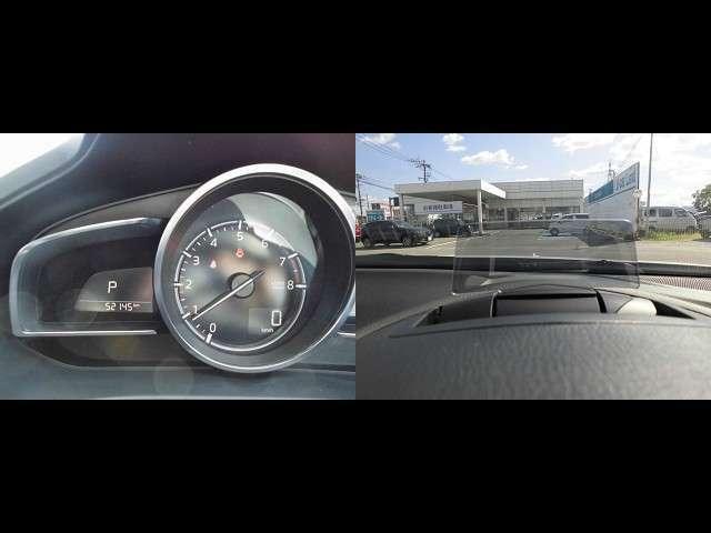 ヘッドアップディスプレイに速度を映し出します。視線を動かさずに速度確認出来るのも安心・安全です!