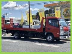 自社のセーフティローダーで納車、引取も安心です! 車高の低い(ローダウンしてある)車でもバッチリ搬送できます!!