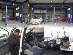 リフト2基完備!!オイル交換、車の点検、メンテナンスもお任せください!