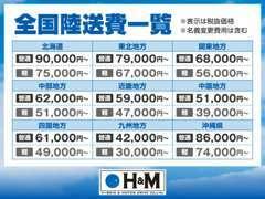 《陸送費》全国の陸送費一覧になります。※名義変更費用は含めて表示致しております。
