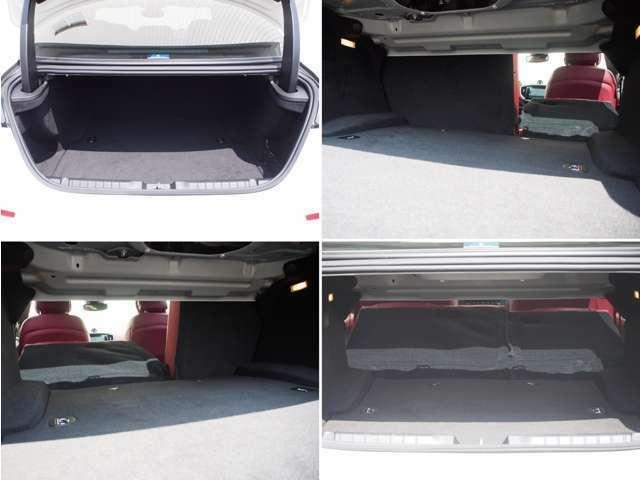 通常時500Lの大容量でありながらも、後席バックレスト(6:4分割)を倒すことで、より広いスペースを確保することが出来ます。 長尺物などの積載も可能です。