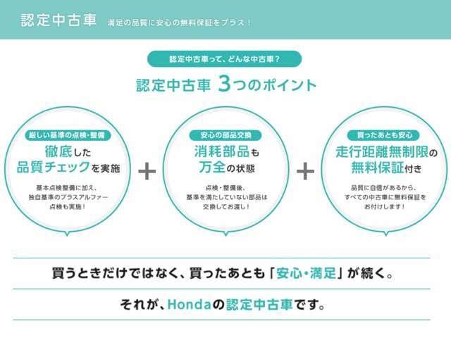 +Bプラン//買う時だけでなく、買った後も「安心・満足」がが続く。それが、Hondaの認定中古車です。