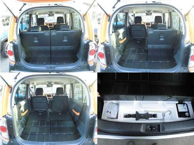 後席シートは倒すことで荷室がとても広くなります!!車載工具は付いていますが、スペアタイヤは無く、パンク修理キットが、付いていますがJAFの加入をお勧めします。