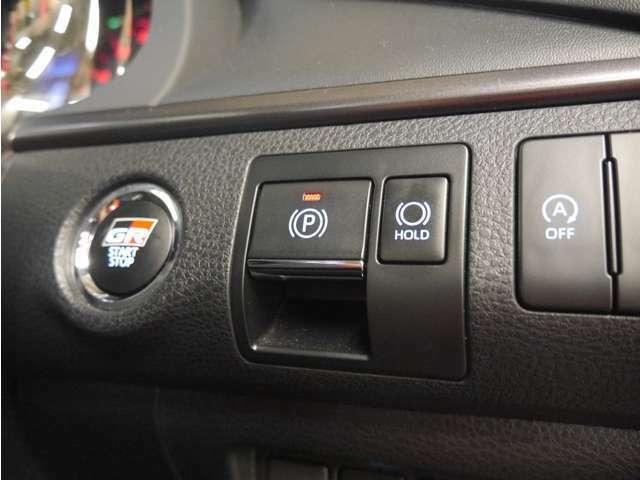 「電動パーキングブレーキ」電子制御式のパーキングブレーキです。スイッチ一つで使えます力の弱い方でも安心!