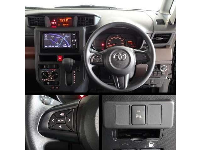 運転席周りの写真です。ステアリング付属のスイッチでオーディオの操作が可能です。