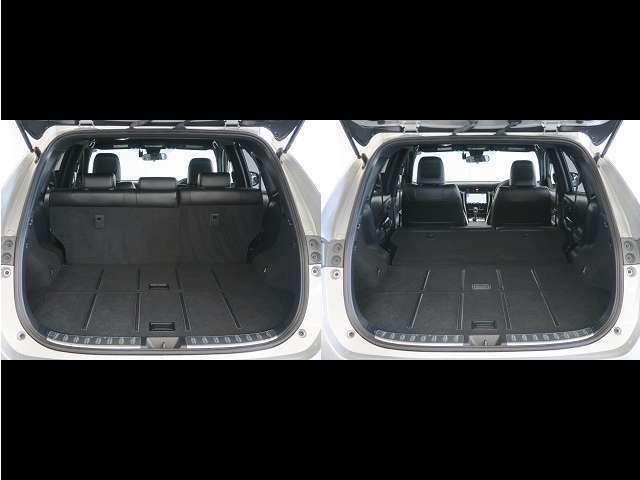 荷室は広々としております★ セカンドシートは2分割で倒すことができるので、乗せるものに合わせてシートアレンジをお試しくださいませ(^^)