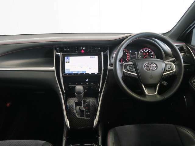 運転席からの視界はご覧の通りです♪ 黒を基調とした室内で、赤色のステッチがスポーティーでかっこいいです(^^)