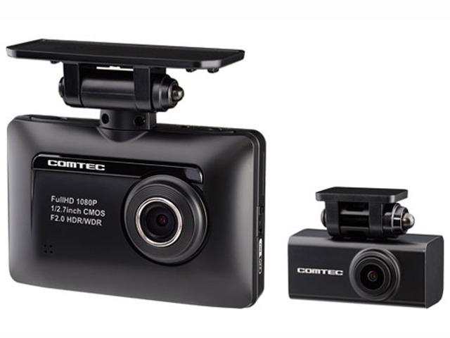 Aプラン画像:前後2カメラで走行時,前方・後方を録画できる、200万画素フルHD対応のGPS搭載ドライブレコーダー.常時録画、衝突録画(Gセンサー)、マニュアル録画が可能で安全運転支援機能付き。