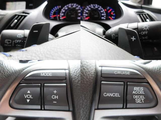 ステアリング部にてオーディオ操作・シフトチェンジが可能なパドルシフト・高速時に一定の速度での走行を可能とするクルーズコントロール付きです。
