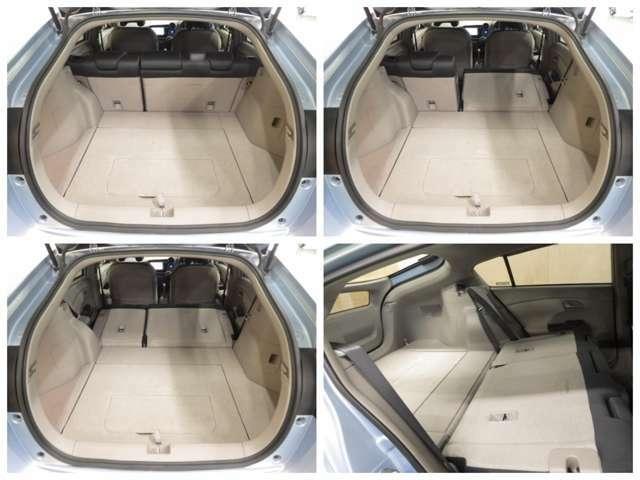 【ラッゲジスペース】後席をワンアクションで倒せば大きくフラットな荷室スペースが出現します。荷室の床の高さを2段階で調節できるフロアボードや、サブトランクなどの、細かい配慮が嬉しいですね!