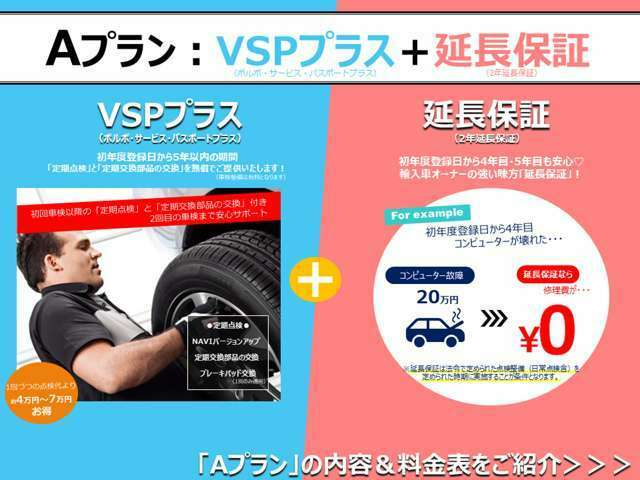 Aプラン画像:「VSPプラス&延長保証」の安心パックのご提案です。保証期間終了後、万が一の故障でも、「延長保証」に加入していれば、安心が続きます。更に「VSPプラス」で快適なボルボライフをあなたに・・・。