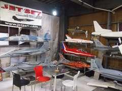 日本でも珍しい模型ジェット機も多数展示しております。http://www.jetsetj.com