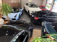 高級感のあるショールームでは常時40台以上の厳選車を展示中!!