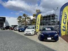 U-Car展示場は、入り口の左手にございます。お気軽にゆっくりとご覧くださいませ。