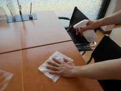 ご商談後は商談テーブルの清掃、除菌を行っております。