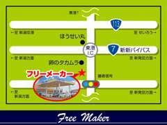 新潟~新発田の中間くらい、東港インターの近くです。