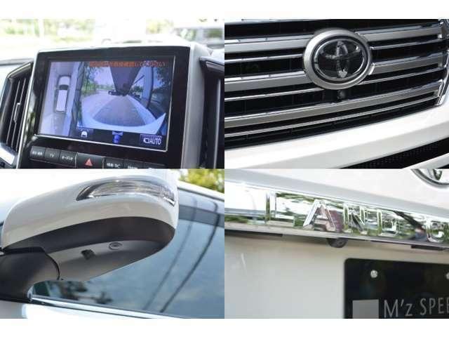 ■メーカーオプションのマルチテレインモニターが装備されておりますので、非常に大きな車体ですが、上から見下ろした映像を見ながら駐車できますので、安心してお乗りいただけます。
