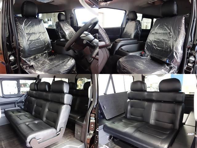 全席FLEXオリジナル黒革調シートカバーを新品で装着!統一感と高級感を演出しております♪