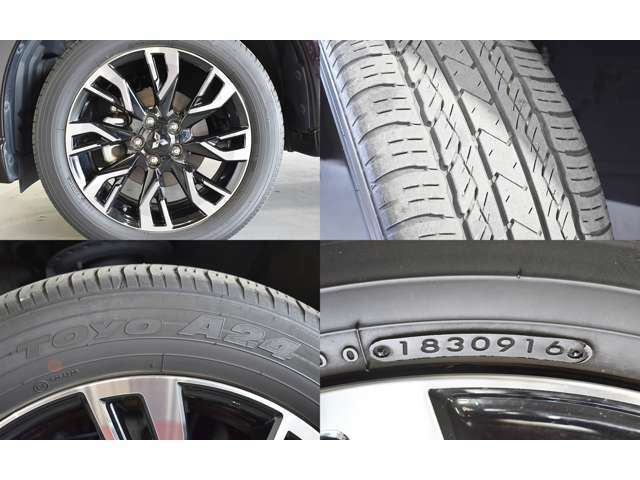 ボディデザインにマッチした純正アルミホイール。お洒落は足元から♪タイヤは新車装着タイヤです。残溝あります。2016年9週目製造ですので少しひび割れ見られます。使用上問題ないレベルです。