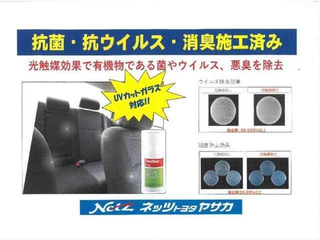 可視光応答型光触媒スプレー☆抗菌、抗ウイルス、消臭、防臭施工済み☆車内のわずかな光により消臭、抗菌、抗ウイルス効果が得られます。UVカットガラス車にも効果があります。