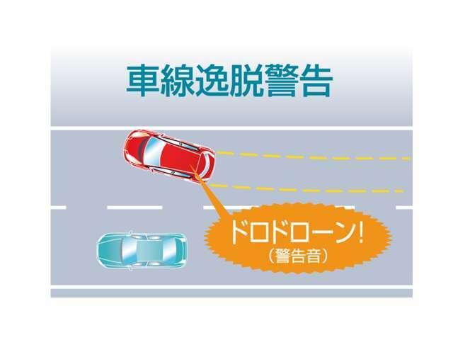 車線逸脱警告走行中に車線を逸脱したことを検知するとアラームでお知らせします。※時速60km/h以上の場合に動作します。