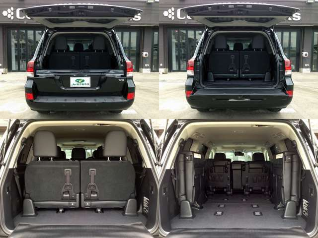 【左上&右上】人を乗せる、荷物を載せる、それぞれのシーンに的確に応えるラゲッジスペース  【左下】3列目シートは片方だけ跳ね上げ収納する事も可能です  【右下】3列目左右跳ね上げ収納と2列目前方収納時