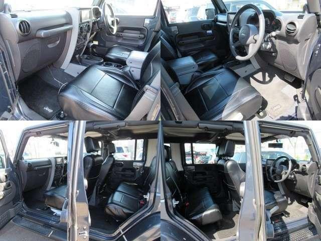 SUVロングのHDDナビ地デジTV ゆったり空間4ドアラングラージープです、内装も綺麗なレザーシートカバーです、