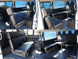 テーブルを設置し、後ろ向き2列目シートと4列目シートで対面着席することが可能です☆用途に合わせたシート展開が出来るのも魅力の一台♪