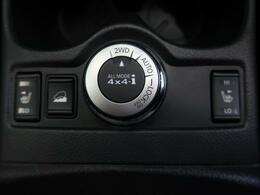 ダイヤル式のパートタイム4WDになっています!!2WDモードと4WDモード、2つを路面状況に応じて自動で切り替えるオートモードの3パターンでドライブを楽しめます☆