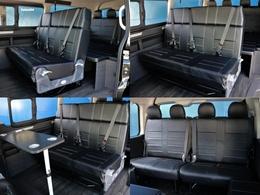 2列目は快適な3人掛けベンチシートになっています。シートの前にテーブルを設置したり、後ろ向きに切り替えることも可能なので、これによって4列目シートと対面が出来ます♪