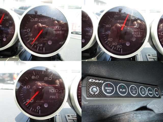 Defi3連追加メーター(ターボ、水温、油圧)コントロールユニット装備