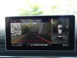 サラウンドビューカメラ:従来のリヤカメラのみに対して、前方、前方左右、後方、後方左右、全周囲と多種多用なモードに対応し、周囲の死角を確認したり、駐車の際の手助けになります。