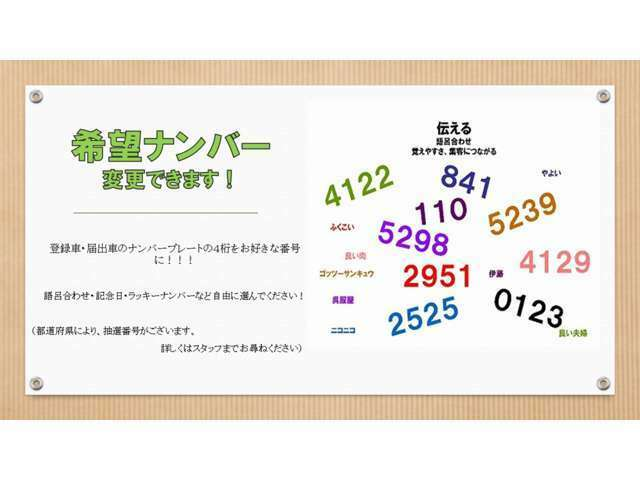 Bプラン画像:ナンバープレートの4桁をご自由に選択できます。(ご当地ナンバー・記念ナンバーはプレート代の料金が異なるため、別途料金が必要となります)
