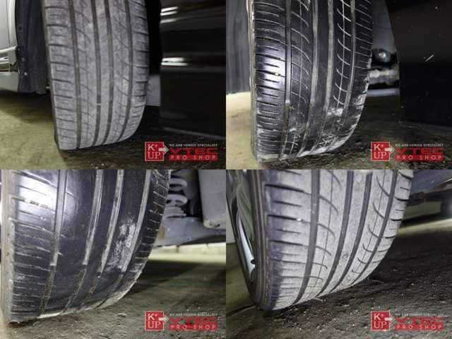 タイヤ溝は残量十分でこのまま十分使っていただけます。タイヤ交換やシーズンタイヤもお任せください。車両コンディションに関する疑問、ご来店のご予約もお気軽にお問い合わせください!