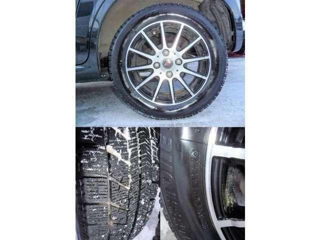 スタッドレスタイヤはB/S2017年製のバリ目!まだまだ長~く乗っていただけますよ!タイヤの摩耗はガソリン代、車検に次ぐ車の三大ランニングコストなので、直ぐに交換になるようなタイヤは遠慮したいですよね~!
