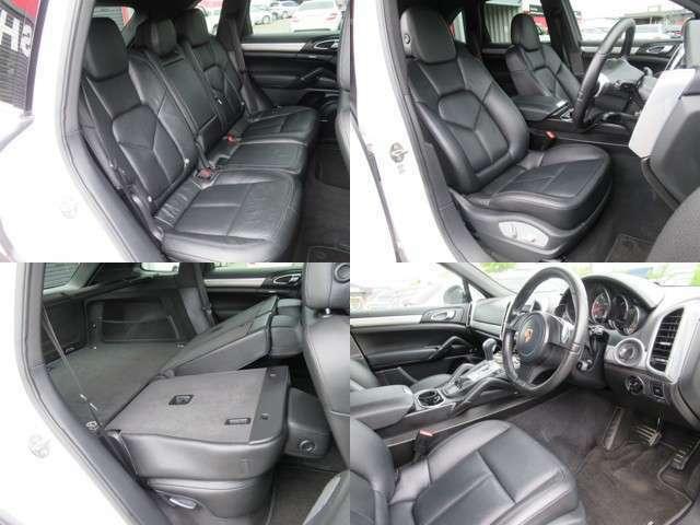 SUVのゆったり空間です、内装も綺麗なブラック本革パワーシートです、インダッシュHDDナビフルセグTVにバックモニター搭載の充実装備満載です