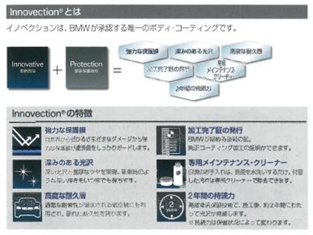 Innovative(革新的な) + Protection(塗装保護技術) イノベクションは、BMWが承認する唯一のボディ・コーティングです。
