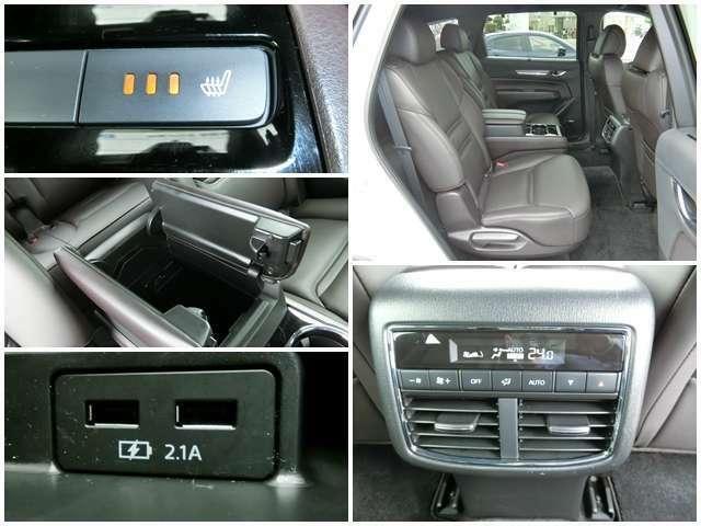 【6人乗り仕様の寛ぎ空間】 リクライニング&シートスライド可能な後席!シートヒーターやスマホ充電USB、空調の操作パネルなど快適装備多数!