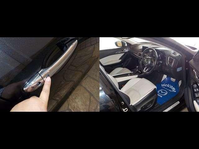 ここの黒いポッチをポチっと押すと・・・ドアロック解除です!運転席への進入目線はこんな感じです!
