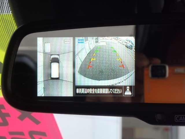 ルームミラーは車両後方のカメラ映像を映し出すので、車内の状況や、天候などにも影響されずいつでもクリアーな後方視界を得られます。アラウンドビューモニターも映せます、目線の移動が少なく安全確認出来ます。