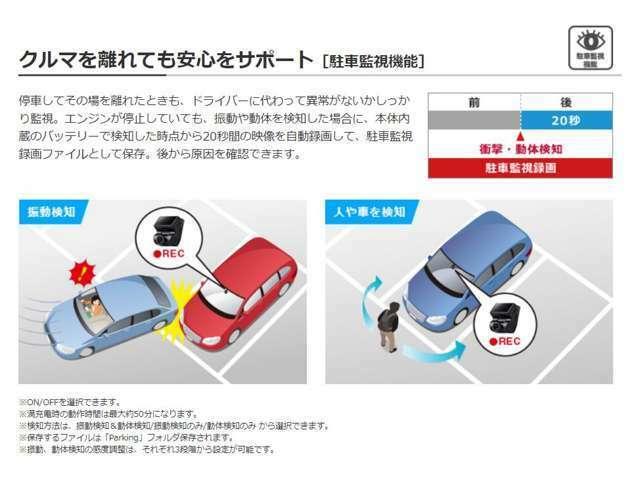 Aプラン画像:停車してその場を離れたときも、ドライバーに代わって異常がないかしっかり監視。エンジンが停止していても、振動や動体を検知した場合に、本体内蔵のバッテリーで検知した時点から20秒間の映像を自動録画(50分)