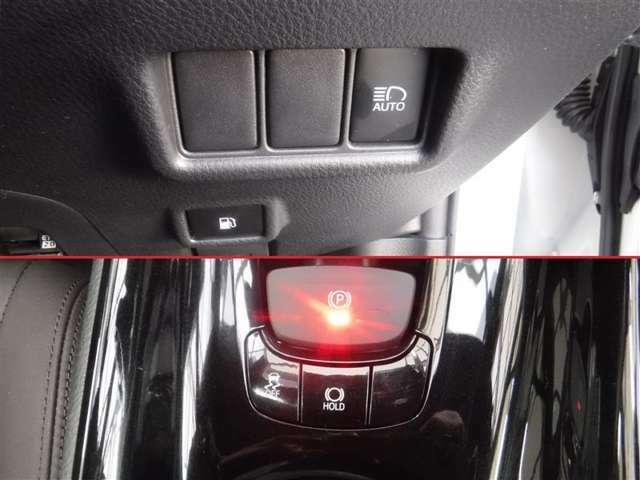 「電動パーキングブレーキ」、シフトレバーを「P」ポジションに入れると自動で作動します。かけ忘れ防止になります。「ブレーキホールド」。ブレーキがかかったまま保持される装置です。