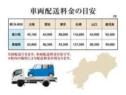 全国配送出来ます。車両配送の目安料金です。県内の場所により配送料金が異なります。ご希望の配送先をお気軽にお問い合わせ下さい。専門スタッフが丁寧にお答え致します。