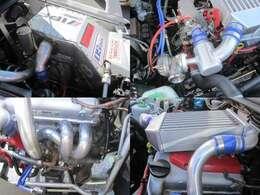 ●左上:社外オイルキャッチタンク●右上トラスト製ブローオフバルブ●左下:社外エキマニ●右下:トトラスト製GReddyインタークーラー