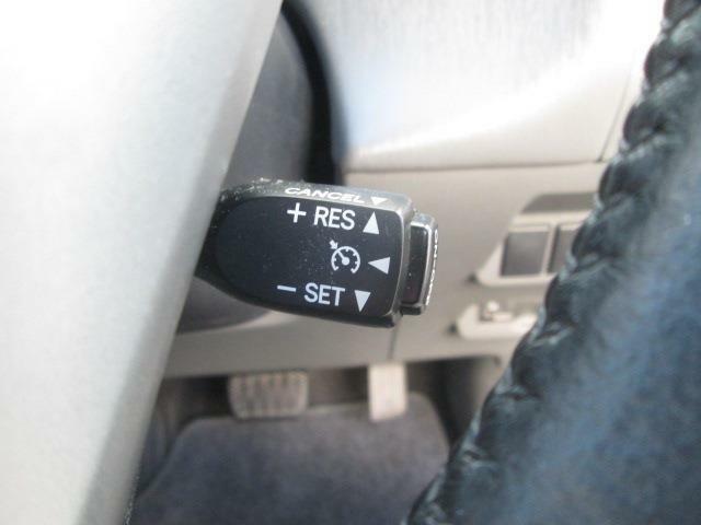 クルーズコントロールです。高速道路などでアクセルを踏まなくても自動で走行できるシステムです。設定すれば手元で速度調節もできますよ☆