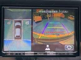 駐車もラクラク、フロント、リヤ、左右両サイドの計4カ所に設置したカメラで、車両周辺の映像を映し出し、駐車を支援するシステム。3つの視点を切替できます。